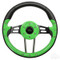 "Club Car DS Steering Wheel 13"" Aviator4 Lime Green Grip w/ Black Spokes"