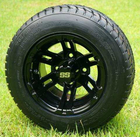 "10"" BULLDOG Black Wheels and 205/50-10 Low Profile DOT Tires Combo"