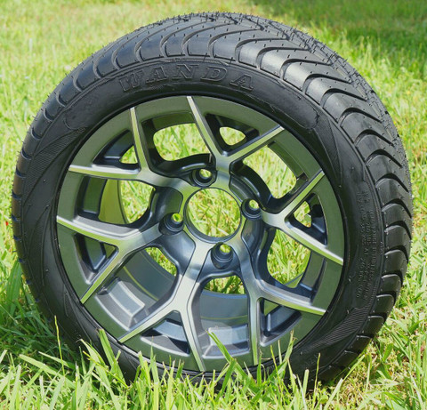 "12"" RALLY Gunmetal Aluminum Wheels and 215/40-12 DOT Tires"