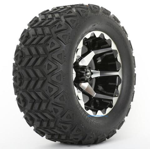 "STI HD6 12"" Machined/ Black Wheels and 22x11-12"" Slasher AT Trail Tires Combo"