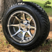 "12"" BANSHEE Gunmetal Aluminum Golf Cart Wheels and 215/50-12"" DOT ComfortRide Golf Cart Tires - Set of 4"