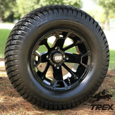 "12"" BLACKJACK Gloss Black Wheels and 23""x10.5-12 TURF Tires Combo"