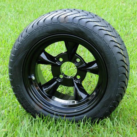"12"" GODFATHER Gloss Black Golf Cart Wheels and 215/40-12 DOT Golf Cart Tires Combo - Set of 4"