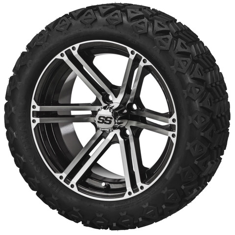"""15"""" TERMINATOR Machined/ Black Wheels and 205/35R-15"""" Low Profile DOT Tires Combo - Set of 4"""