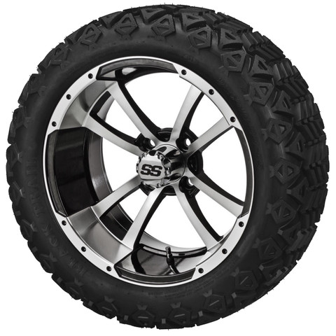 """15"""" STORM TROOPER Machined/ Black Wheels and 205/35R-15"""" Low Profile DOT Tires Combo - Set of 4"""