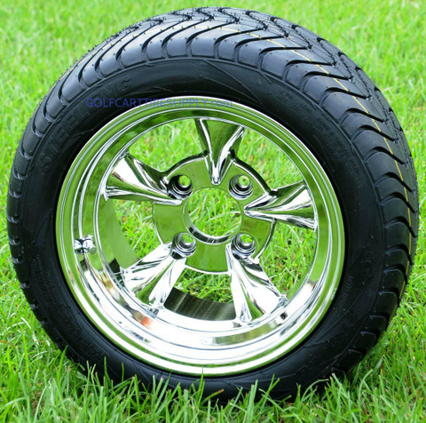 """12"""" GODFATHER II Polished Wheels and 215/40-12 DOT Golf Cart Tires"""