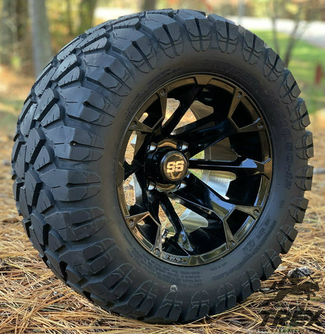"""12"""" BLACKJACK Gloss Black Aluminum wheels and 22"""" STINGER All terrain tires combo"""