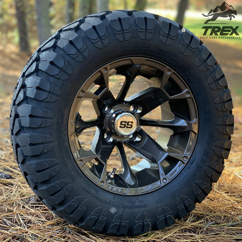 "12"" BLACKJACK Metallic Bronze Aluminum wheels and 22"" STINGER All terrain tires combo"