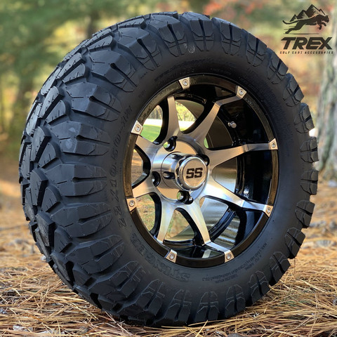 "12"" BANSHEE Machined/ Black Aluminum wheels and 22"" STINGER All terrain tires combo"