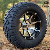 "12"" BANSHEE Machined/ Black Aluminum wheels and 22"" STINGER All terrain tires combo"