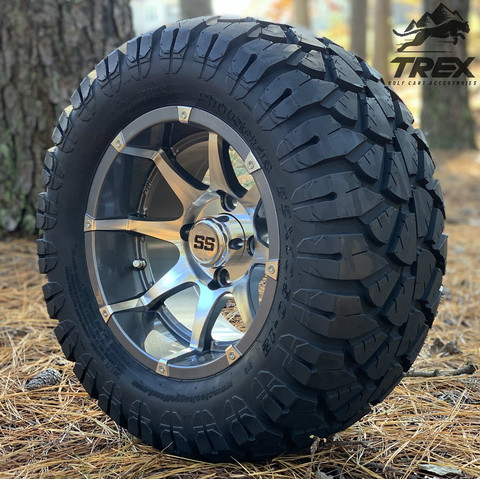 "12"" BANSHEE Gunmetal/ Machined Aluminum wheels and 22"" STINGER All terrain tires combo"