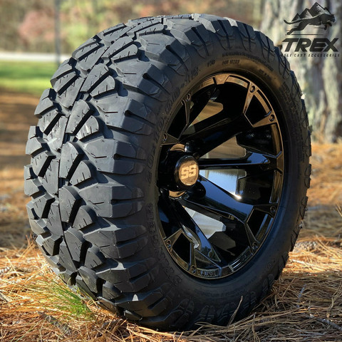 "12"" BLACKJACK Gloss Black Aluminum Wheels and 20x10-12"" STINGER All Terrain Tires - Set of 4"