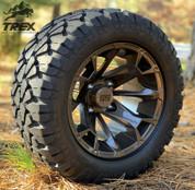 "12"" BLACKJACK Metallic Bronze Aluminum Wheels and 20x10-12"" STINGER All Terrain Tires - Set of 4"