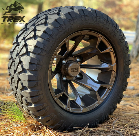 "12"" BLACKJACK Metallic Bronze Aluminum Wheels and 20x10-12"" STINGER All Terrain Tires - Set of 4"