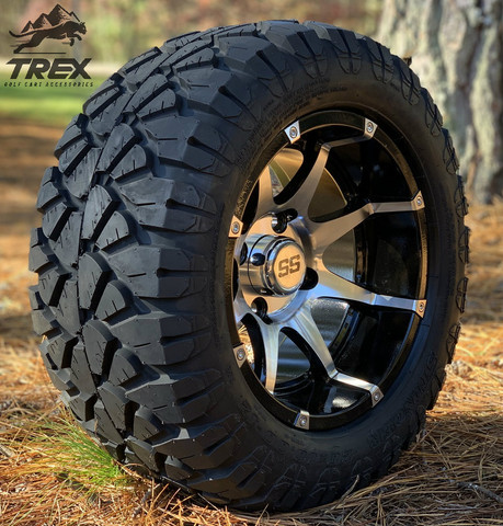 "12"" BANSHEE Machined/ Black Aluminum Wheels and 20x10-12"" STINGER All Terrain Tires - Set of 4"