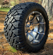 "12"" BANSHEE Gunmetal/ Machined Aluminum Wheels and 20x10-12"" STINGER All Terrain Tires - Set of 4"