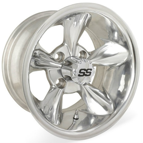 "12"" GODFATHER Polished Aluminum Golf Cart Wheels - Set of 4"