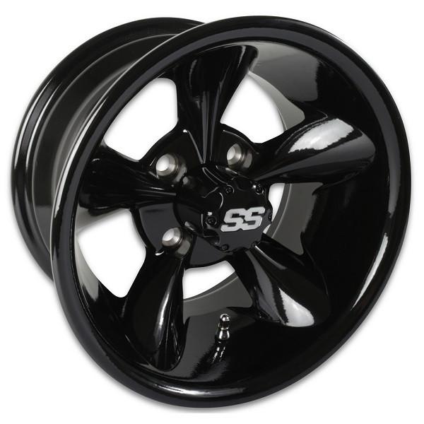 12 Quot Godfather Gloss Black Aluminum Golf Cart Wheels Set