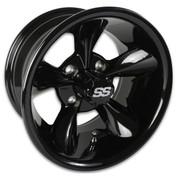 "12"" GODFATHER Gloss Black Aluminum Golf Cart Wheels - Set of 4"