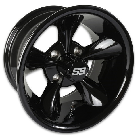 "12"" GODFATHER Gloss Black Aluminum Golf Cart Wheels - Set of 4"