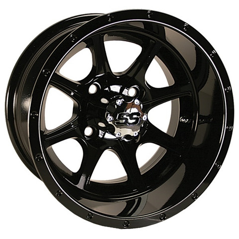 "12"" TREMOR Gloss Black Aluminum Golf Cart Wheels - Set of 4"