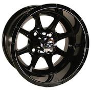 "12"" TREMOR Gloss Black Aluminum Golf Cart Wheels - Set of 4"