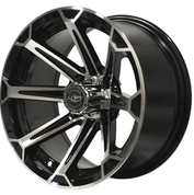 "12"" MJFX VORTEX Black/Machined Aluminum Golf Cart Wheels - Set of 4"