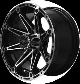 "12"" MJFX ELEMENT Black/Machined Aluminum Golf Cart Wheels - Set of 4"