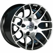 "12"" GTW PURSUIT Black/Machined Aluminum Golf Cart Wheels - Set of 4"