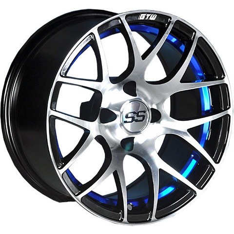 "12"" GTW PURSUIT BLUE/Machined Aluminum Golf Cart Wheels - Set of 4"