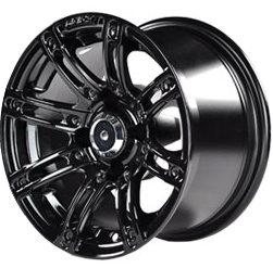 """12"""" ILLUSION Gloss Black Aluminum Golf Cart Wheels - Set of 4 (Choose your Colored Inserts!)"""