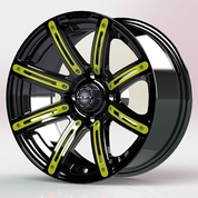 "12"" ILLUSION Gloss Black Aluminum Golf Cart Wheels - Set of 4 (Yellow Inserts!)"