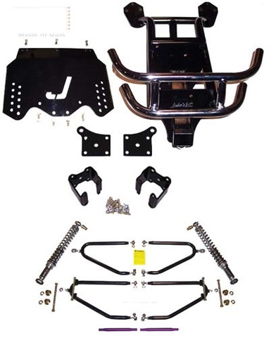 """JAKES 4""""- 8"""" Adjustable Heigh Long Travel Lift Kit for EZGO TXT ELECTRIC 1994-2001.5 (3-Bolt Steering Column, Electric)"""