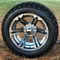"14"" TERMINATOR Gunmetal Machined Wheels and 23x10-12"" DURO Desert All Terrain Tires Combo"
