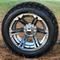 "14"" TERMINATOR Gunmetal Machined Wheels and 23x10-12"" DURO Desert All Terrain Tires Combo"