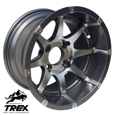 "12"" BANSHEE Gunmetal/ Machined Aluminum Wheels - Set of 4"
