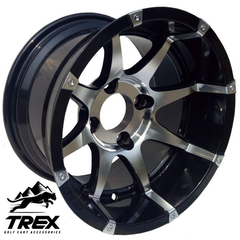 "12"" BANSHEE Black/ Machined Aluminum Wheels - Set of 4"