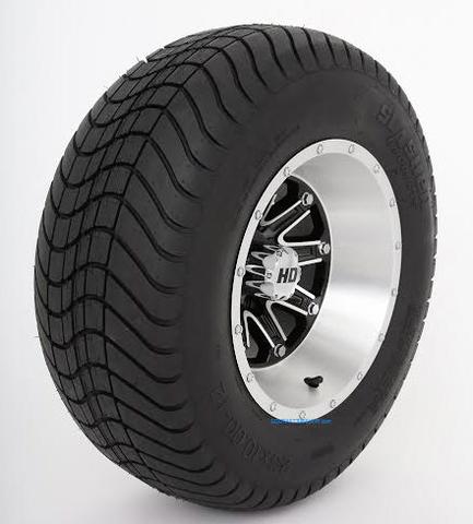 "12"" STI HD4 Machined/ Black Wheels and 23"" DOT Street Tires - Set of 4"