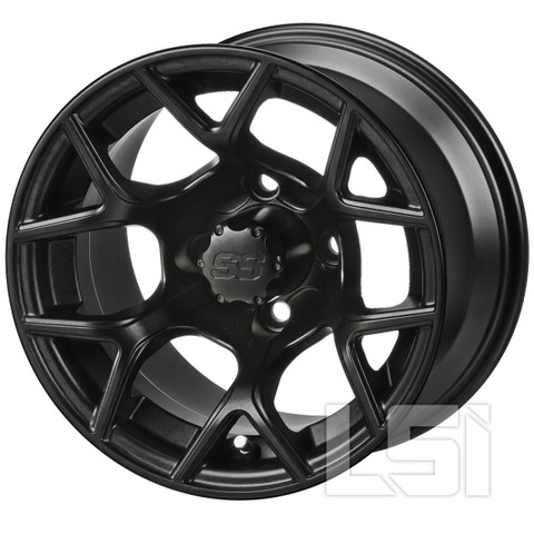 "12"" RALLY Matte Black Aluminum Golf Cart Wheels - Set of 4"