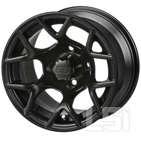 """12"""" RALLY Matte Black Aluminum Golf Cart Wheels - Set of 4"""