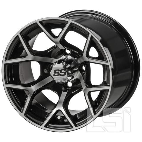 "12"" RALLY Machined/ Black Aluminum Golf Cart Wheels - Set of 4"