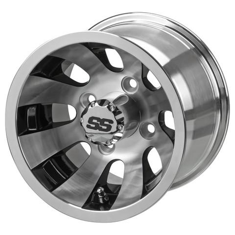 "10"" REVOLVER Machined/ Black Aluminum Golf Cart Wheels"