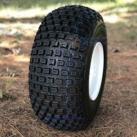 "8"" White Steel Golf Cart Wheels and 18x9.50-8"" Slasher Knobby Scorpion Tires - Set of 4"