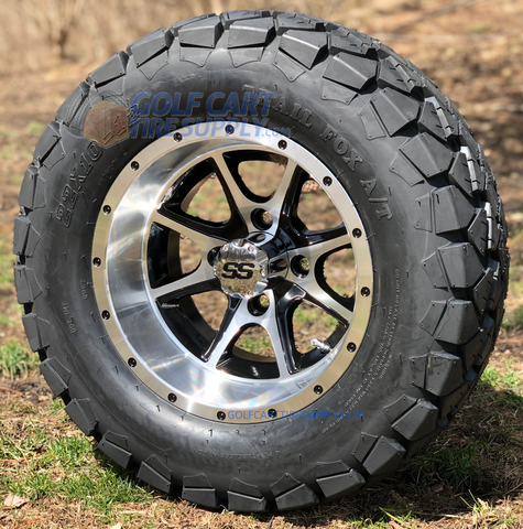 """12"""" TREMOR Black/Machined Wheels and 22x10-12"""" TRAIL FOX DOT All Terrain Tires Combo - Set of 4"""