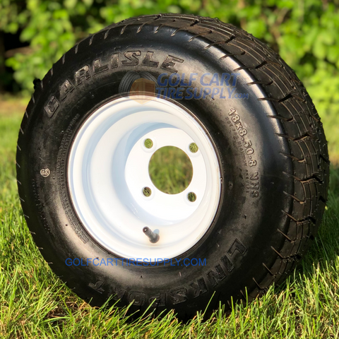 18x8.50-8 Carlisle LinkSport OEM Golf Cart Tires and White Steel Golf Cart Wheels Combo