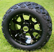 "12"" STALKER Black Aluminum Wheels and 20x10-12"" All Terrain Tires Combo"