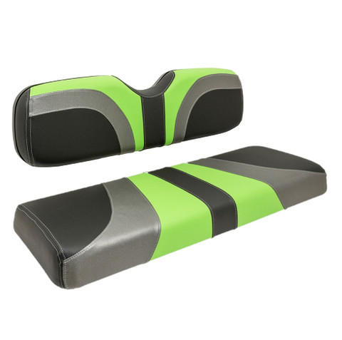 Reddot BLADE Front Golf Cart Seat Covers in Lime Green/ Black Carbon Fiber/ Charcoal