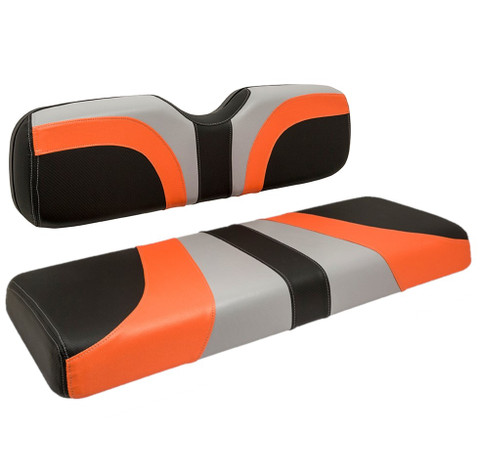 Reddot BLADE Front Golf Cart Seat Covers in Lime Orange/ Black Carbon Fiber/ Gray