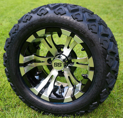 "12"" VAMPIRE Machined Aluminum Wheels and 20x10-12"" All Terrain Tires Combo"