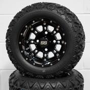 "10"" PANTHER Gloss Black Golf Cart Wheels and 18x9-10 DOT All Terrain Golf Cart Tires Combo - Set of 4"